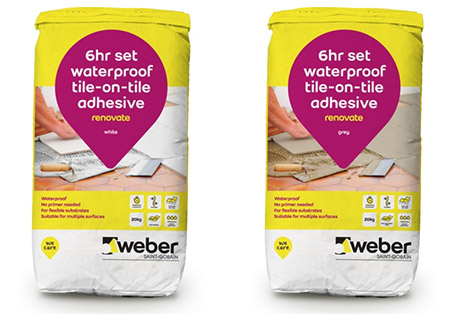 Renovate Tile Adhesive allows tiles to be laid directly onto existing tiles
