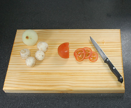 And now you're ready to put you new pine chopping block to good use.