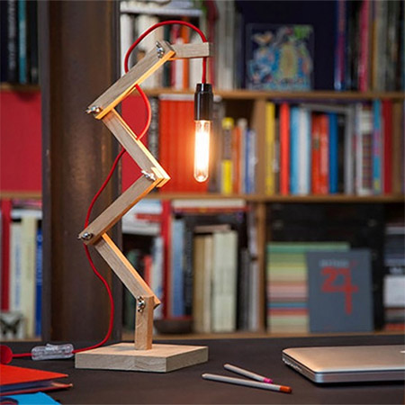 This quick and easy zig-zag lamp is just the thing for lighting up your home office desk or work area.