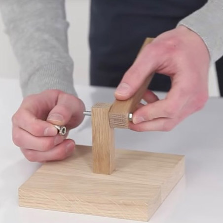 Use a bolt and wingnut to secure a long section of wood
