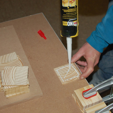 cut wood slices to cover door