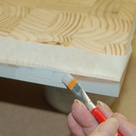 mask off wood sliced areas
