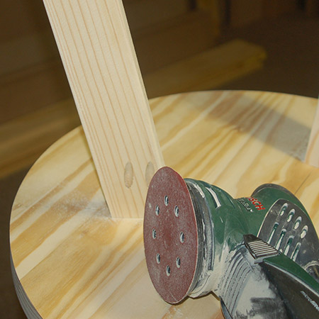 Round off all the sharp edges with 180-grit sanding pads