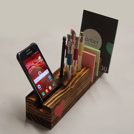 Use pine offcuts to make a desk organiser that you can keep for yourself, or give as a Valentine's day gift.