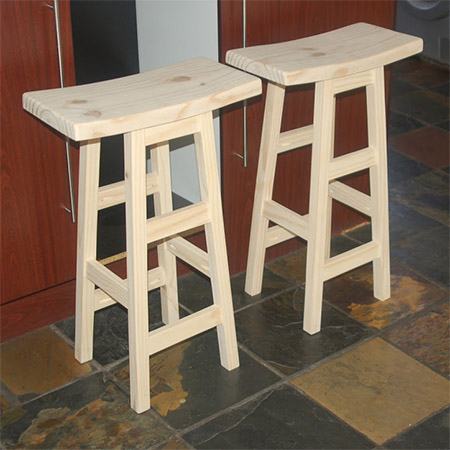 These bar stools - with their curved top - are easy to make and you will find all the timber you need at your local Builders Warehouse or timber merchant.