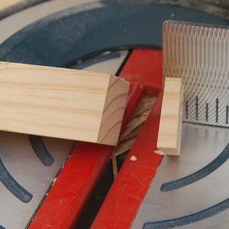 7. All four legs need to be cut at a 5-degree angle – from corner to corner - see image below. Set the plate on your mitre saw to 5-degrees and firmly hold each leg so that the corner is facing up.