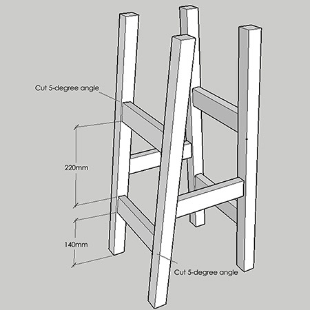 8. Cut all the crosspieces for the stool frame to fit. All the crosspieces have a 5-degree cut at each end and a single pocket-hole at the both ends.