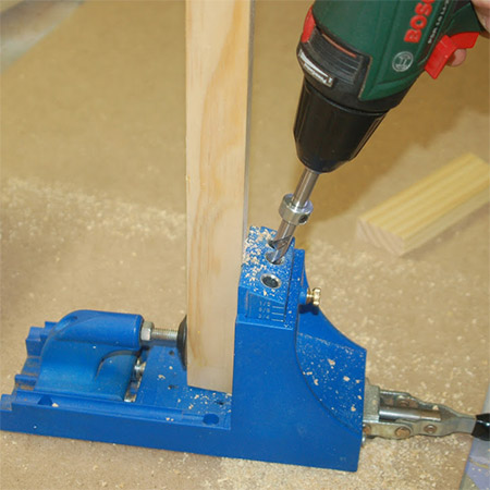9. On all crosspieces, use a Kreg Pocket-hole Jig to drill a pocket-hole at the ends. Set your jig and bit for the correct cutting depth for the thickness of pine you are using for this project.