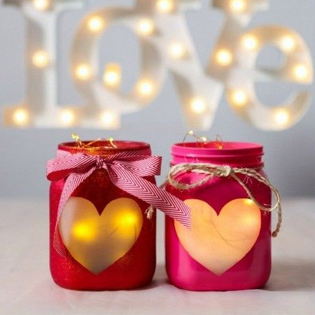 HOME-DZINE | Valentine Crafts - Here's a fun way to recycle glass food jars and containers, or to use Mason jars, to make your own Valentine's decor and gifts.