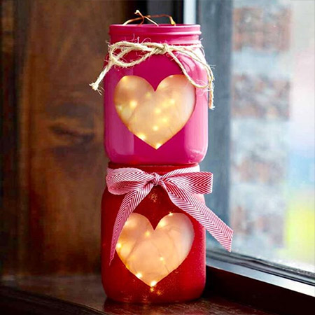 HOME-DZINE | Valentine Crafts - Grab a can of Rust-Oleum 2X Ultra Cover spray paint in Sweet Pea, Satin Magenta, Poppy Red or Colonial Red and transform a glass food jar into a pretty candle holder to add romance to your Valentine's Day celebration.
