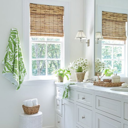 Choose a window treatment that adds colour, pattern and texture to layer your bathroom with interest.
