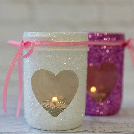 HOME-DZINE | Valentine Crafts - Add even more interest to your recycled glass jars by spraying them with Rust-Oleum Glitter spray.