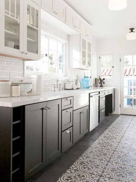 The two-tone look for kitchens allows a kitchen to appear more spacious than it actually is
