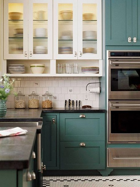 Loving the beautiful Shaker-style cabinets in these kitchens. Two-tone kitchen cabinets are a great way to breathe new life into a boring kitchen and create eye-catching visual impact.
