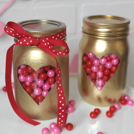 HOME-DZINE | Valentine Crafts - Give glass food jars a makeover for any occasion with Rust-Oleum Universal Metallic spray paint.