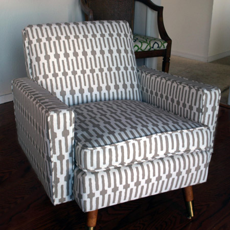 This dated vinyl armchair gets a makeover and a brand new lease on life. Find out how to upholstery your own club chair.