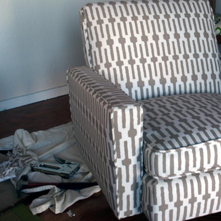 GOOD TO KNOW: To cover the chair back you can use fabric held down with tack strips, or add decorative upholstery strips around the back panel. Most larger fabric stores stock upholstery strips in chrome, black or