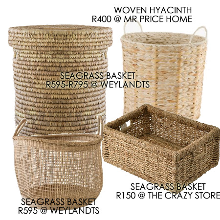 assorted baskets for a bedroom