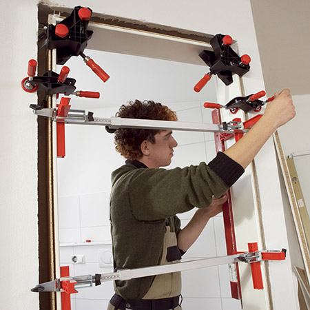 Bessey offer special tools for the modern technique of installing door frames using assembly foam.