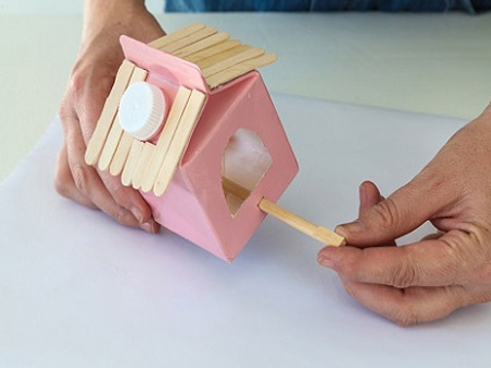 HOME-DZINE | Craft Ideas - Push in the chopsticks or dowels to make perches for the birds to sit on.