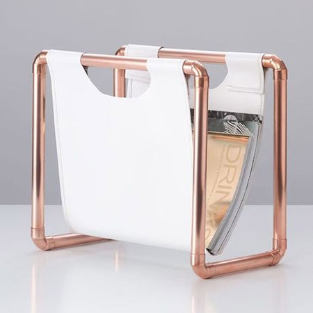 HOME-DZINE | Copper Tube DIY - If you're still into printed magazines, a magazine rack always come in handy, especially next to the toilet! Here's another easy way to use copper tube and fittings, plus a piece of leather or pleather, to make your own trendy magazine rack.