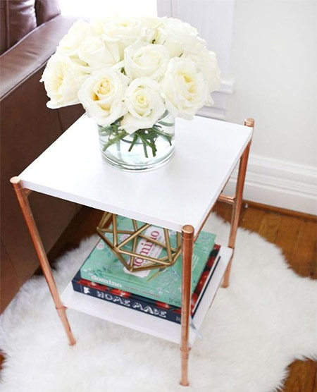HOME-DZINE | Copper Tube DIY - Making occasional and side tables is another great way to add furniture to a room without having to spend a fortune. Make the frame with copper tube and fittings and then add granite or marble tops, or cut SupaWood to size and spray paint.