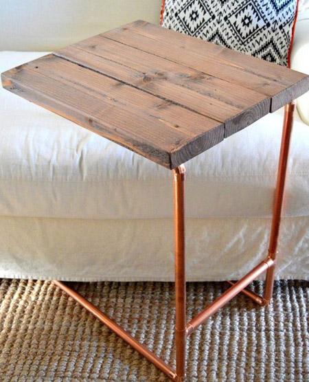 HOME-DZINE | Copper Tube DIY - Every home needs a table or two, and if they're easy and affordable to make you can make a variety of copper tube tables for different applications. Glue together cut pine planks and mount on a copper tube framework to make a table that you can use as a laptop table, or for drinks.