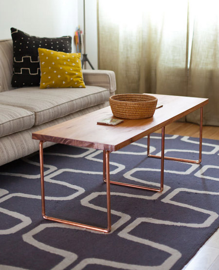 HOME-DZINE | Copper Tube DIY - A coffee table like the one shown here, should only cost around R350 to make - and you definitely won't be able to buy a trendy and stylish ready-made coffee table for that price!