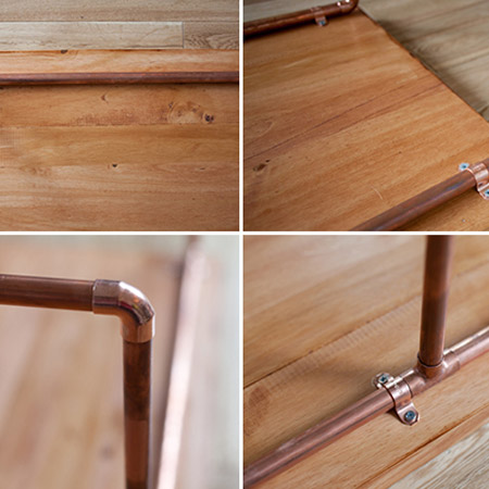 HOME-DZINE | Copper Tube DIY - A piece of laminated pine, cut to size, is secured on top of the copper tube frame - easy!