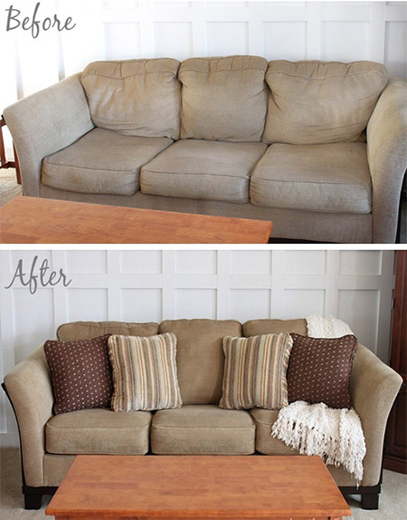 HOME-DZINE | Cleaning Tips - Fill saggy cushions on the back, or loose cushions, with fibrefill or batting, depending on the style of cushions. Both these products are available at larger fabric stores.