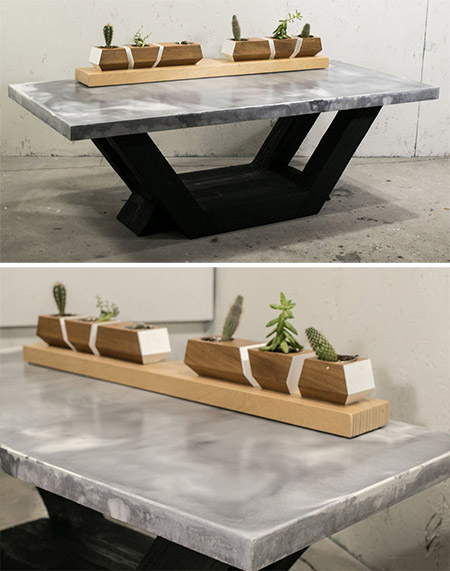 HOME-DZINE | DIY Projects - This hefty coffee table features a concrete top with marble effect. The concrete top is glass fibre reinforced with white to dark grey concrete to give the top its marble look.