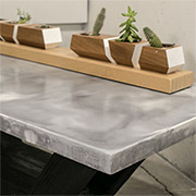Concrete table with marble effect