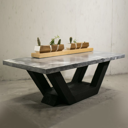 HOME-DZINE | DIY Projects - This custom concrete table isn't something you can buy and would look good in any modern or contemporary home. The solid, sorched base can be made using 69 x 69mm pine PAR that you will find at your local Builders or timber merchant, while the marble design of the concrete top is made by combining light and dark concrete mixes.