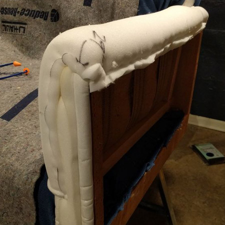 HOME-DZINE | Upholstery Projects - Once the seat and back is done you can move onto the arm rests. You can apply a thin layer of foam over the frame and apply a layer of batting over the top of this. Use staples to hold the foam and fabric in place.