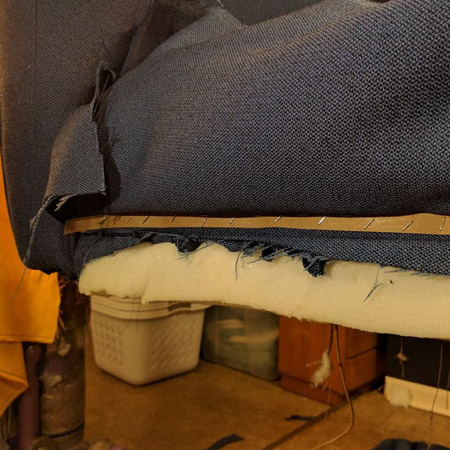 HOME-DZINE | Upholstery Projects - The front skirt of the sofa is attached using a tack strip.