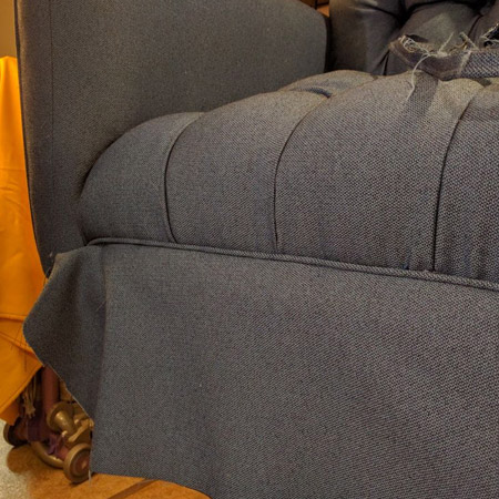 HOME-DZINE | Upholstery Projects - The tack strip is stapled in place over the fabric, the fabric folded over and down, and stapled underneath the seat/base. Be sure to pull the fabric taut and remove / replace any staples where the fabric is uneven.
