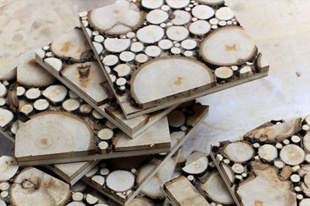 HOME-DZINE | Craft Projects - Cut wood slice coasters ready for finishing.