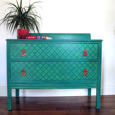 HOME-DZINE | Upcycle old furniture - Use two of the same colours (light and dark) to apply a stencil design to drawer fronts.