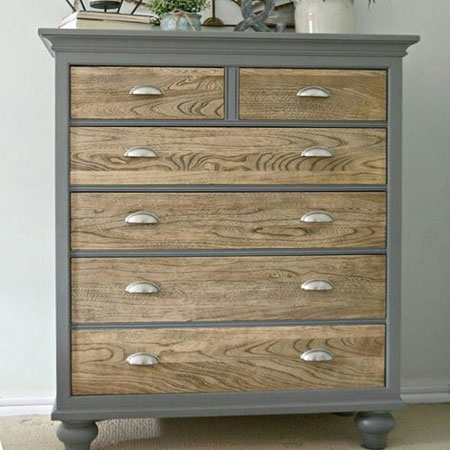 HOME-DZINE | Upcycle old furniture - Paint the outer cabinet in a trendy colour to contrast with wood-finish drawer fronts.