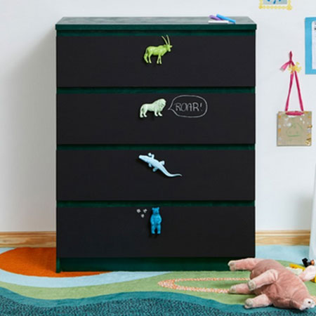 HOME-DZINE | Upcycle old furniture - Add a fun element to a child's bedroom with this chalk painted chest of drawers with animal figurine handles.
