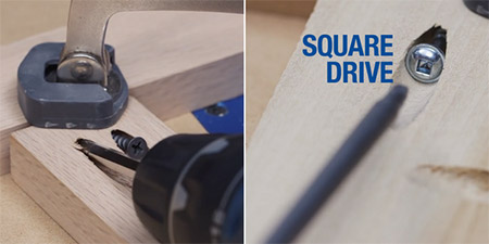 HOME DZINE | DIY Tips - Kreg screws have a square-drive head that allows the driver bit to fit snug in the head of the screw. This leaves your hands free to concentrate on joining sections together.