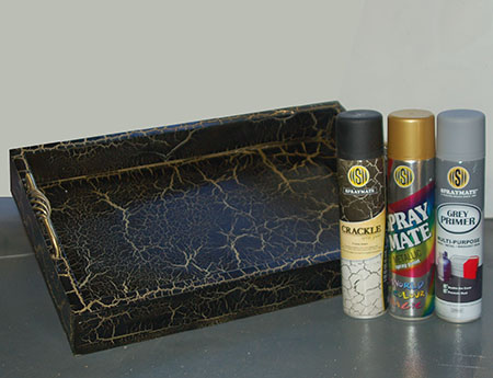 HOME-DZINE | Rust-Oleum Crafts - Make a tea tray from scratch and give it a beautiful black and gold crackle finish with Spraymate Crackle.