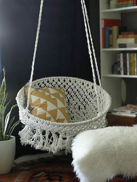 HOME-DZINE | Craft Projects - The hanging macramé chair below is made using two hoops; a large one at the top and a smaller hoop at the base.
