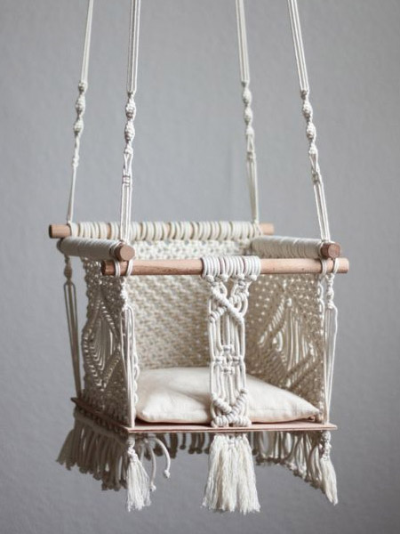 HOME-DZINE | Craft Projects - Once you've mastered a few basic knots you will be ready to do something a little more difficult. How about this adorable macramé chair swing. Hang from a ceiling beam or door frame and let your little one have fun.