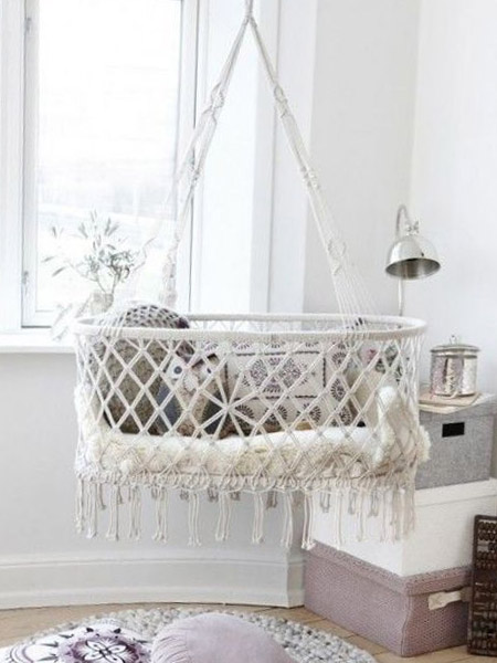 HOME-DZINE | Craft Projects - this beautiful macramé crib gently sways and allows breezes to caress your baby on hot days. While the macramé trend may come and go, items like these are sure to stay forever.