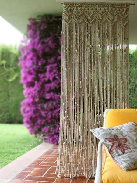 HOME-DZINE | Craft Projects - Need privacy? Make up a hanging macramé privacy screen that can be hung from the ceiling. You can keep it plain and simple, or incorporate beads for a more throwback, retro look.