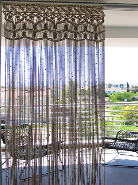 HOME-DZINE | Craft Projects - And not just for outdoors... this macramé curtain offers privacy without blocking out natural light. Mount from an existing curtain track or wrap around a pine dowel that can be hung from the ceiling.
