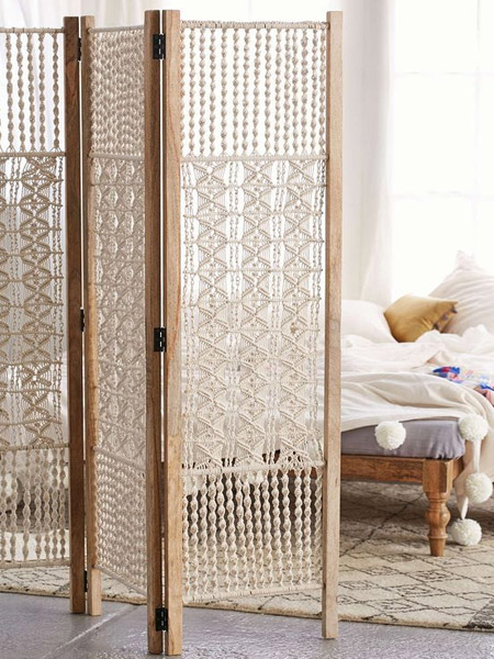 HOME-DZINE | Craft Projects - To close off small areas, a privacy screen is perfect, and you can make your own privacy screen by incorporating macramé panels for a romantic feel.