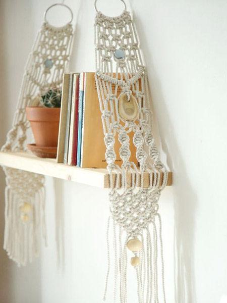 HOME-DZINE | Craft Projects - Today, there are so many ways to use macramé in practical ways. Put aside the tools and use macramé to make your own shelves. These lacy designs look fantastic on a wall and can be combined with reclaimed timber, driftwood or pine offcuts.