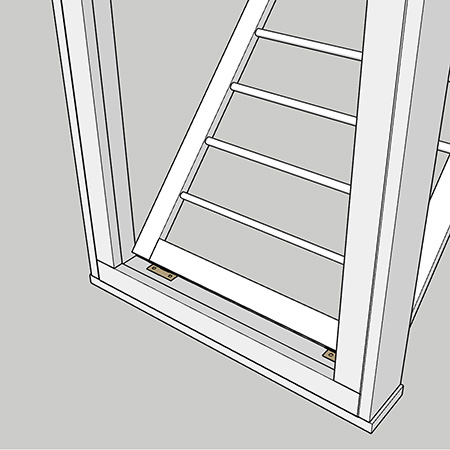 fit butt hinges to rack and frame